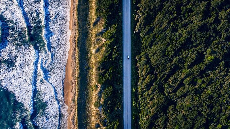 Vista aérea do litoral