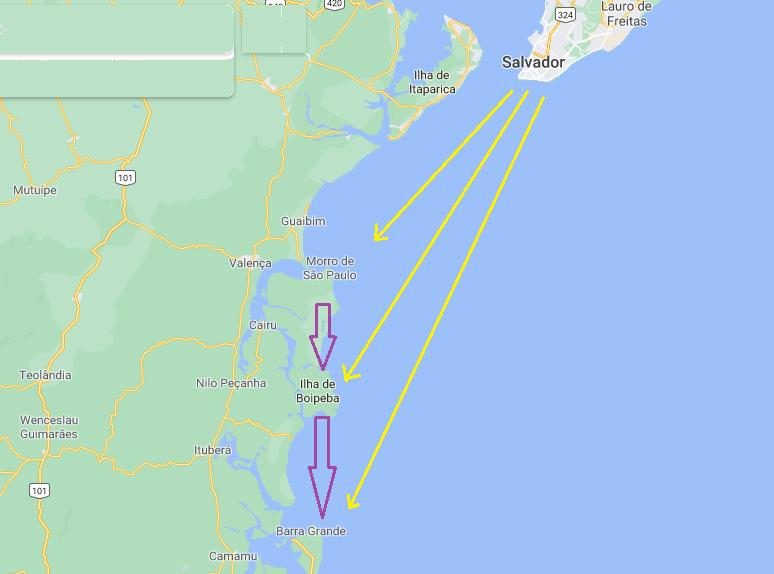 Mapa de ilhas próximas a Salvador
