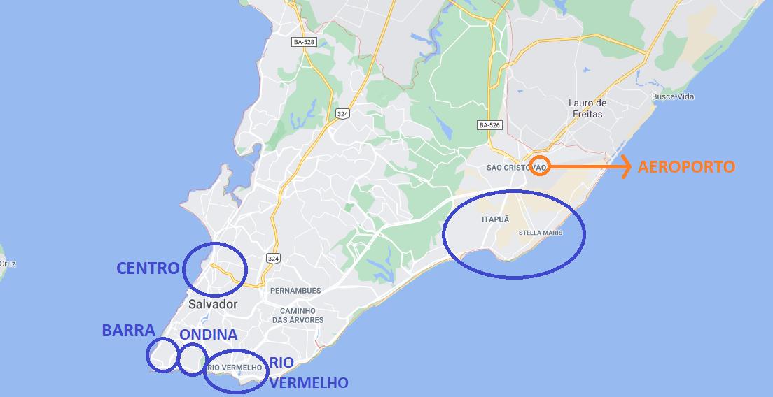 Mapa das regiões de Salvador