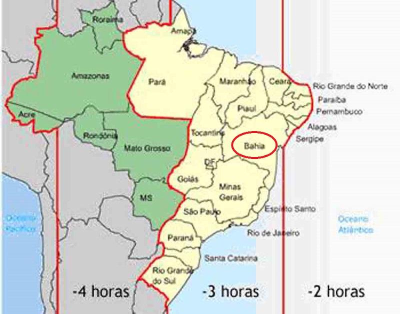 Mapa dos fusos brasileiros