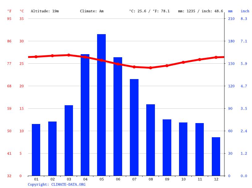 Gráfico de clima e temperatura em Salvador